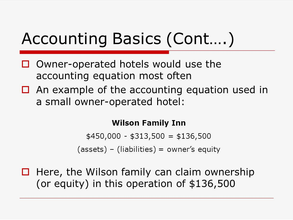 Accounting Basics (Cont….)