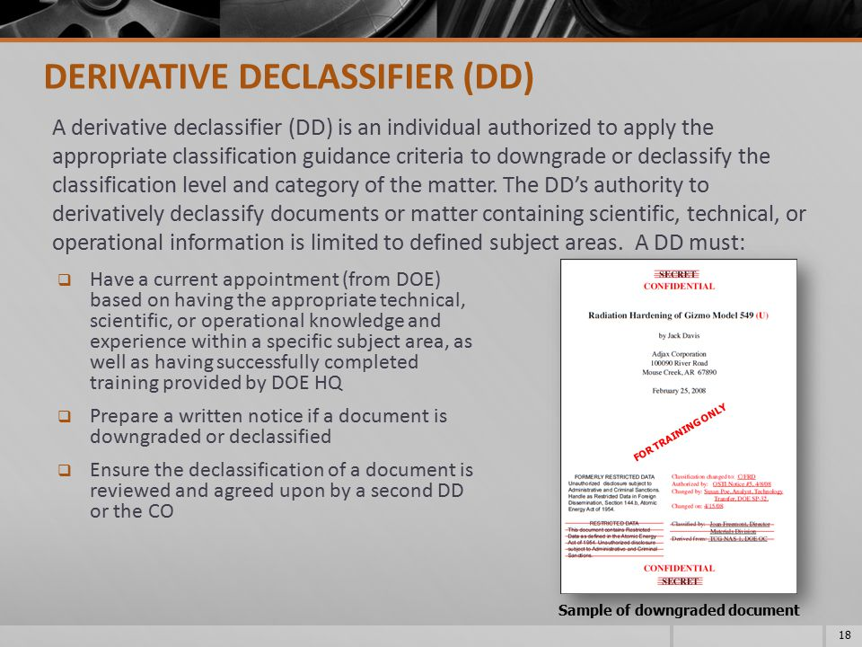 Sample of downgraded document