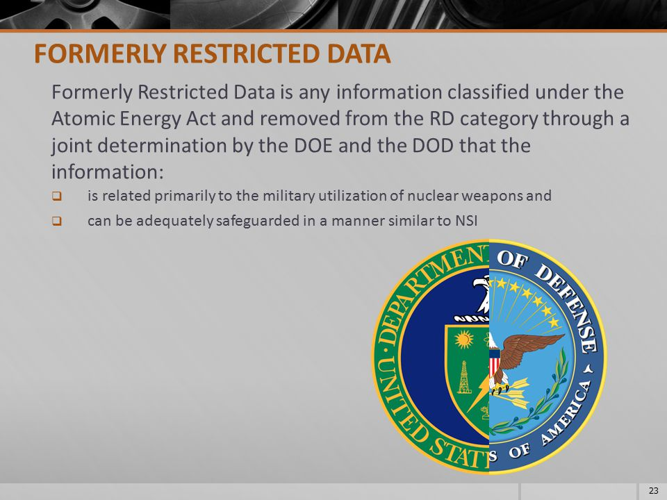 FORMERLY RESTRICTED DATA