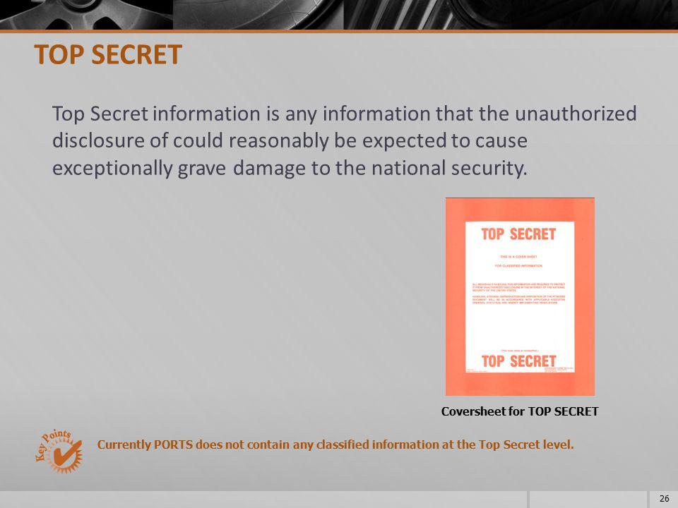 Coversheet for TOP SECRET