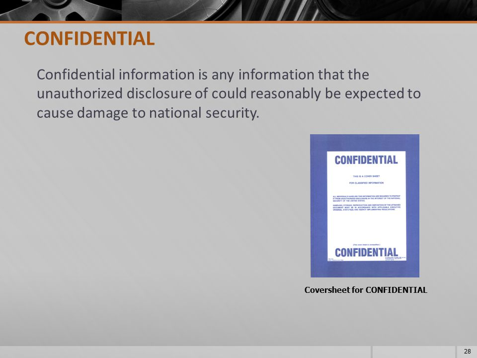 Coversheet for CONFIDENTIAL