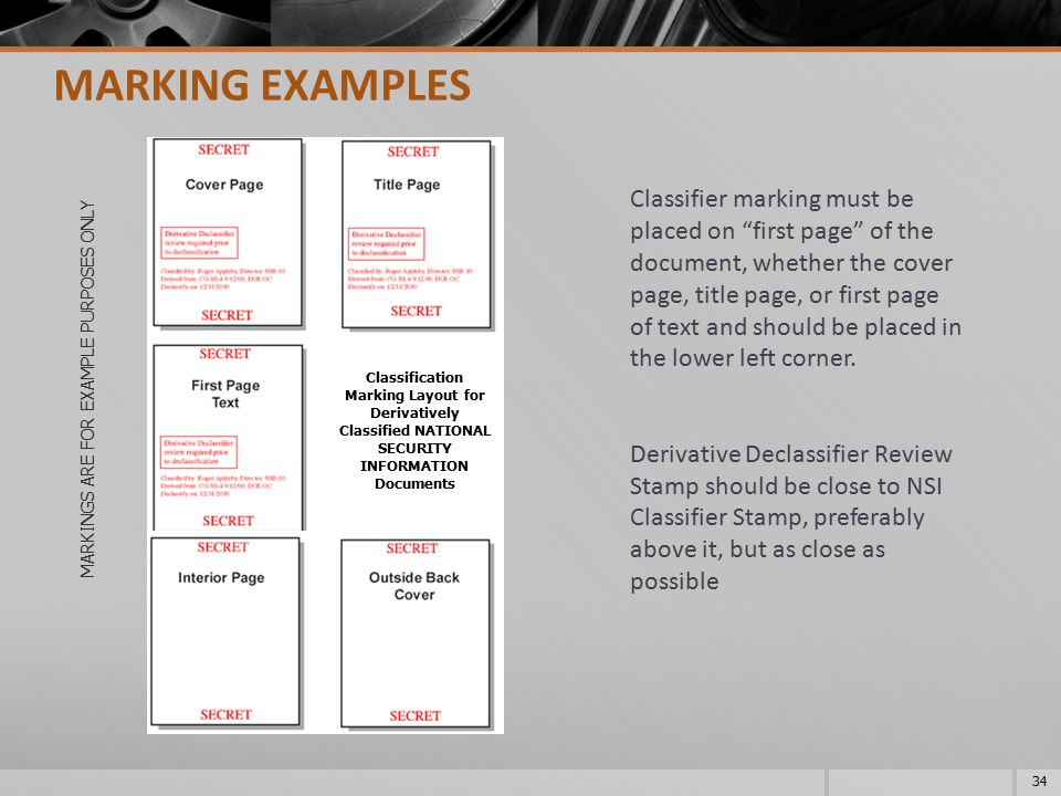 MARKINGS ARE FOR EXAMPLE PURPOSES ONLY