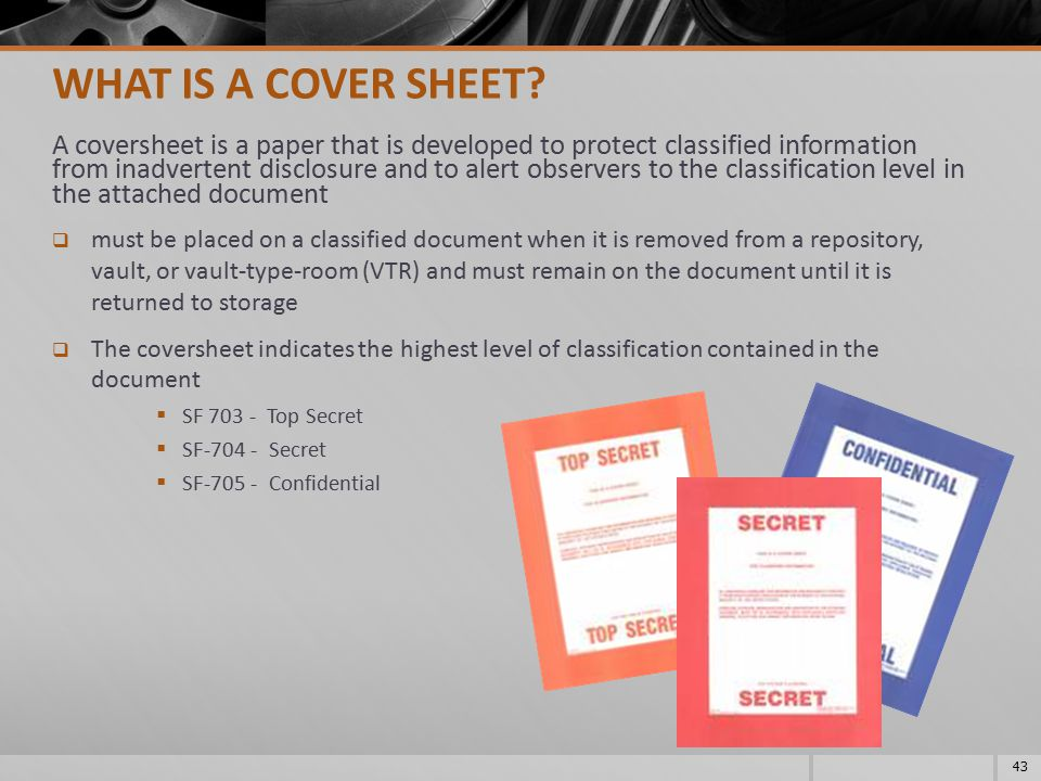 What is a cover sheet