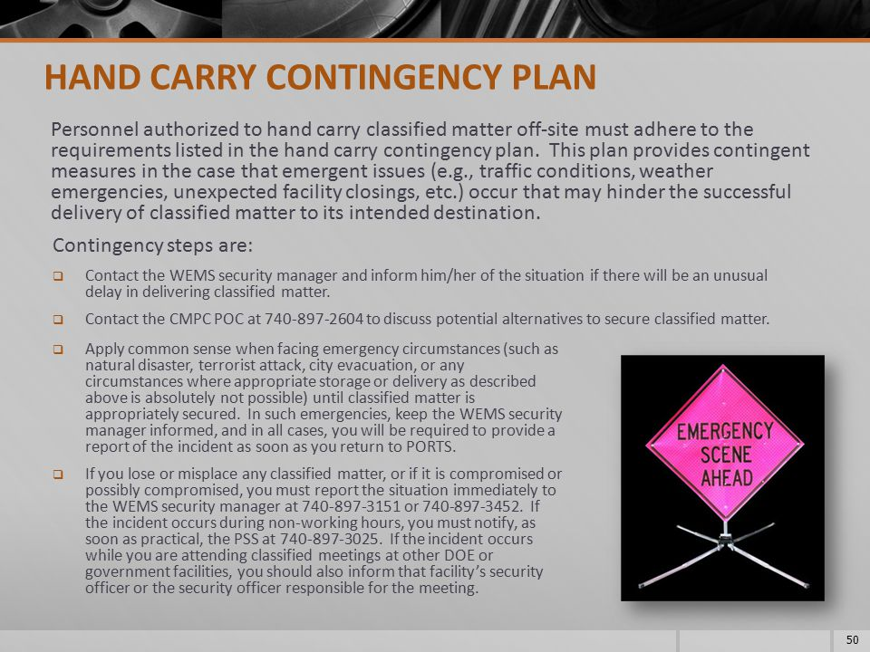 HAND CARRY CONTINGENCY PLAN