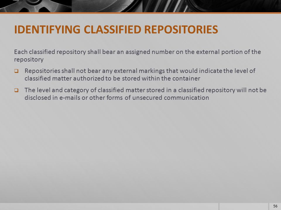 IDENTIFYING CLASSIFIED REPOSITORIES