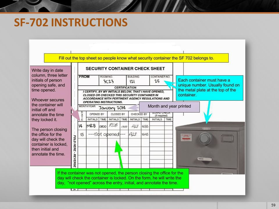 SF-702 INSTRUCTIONS