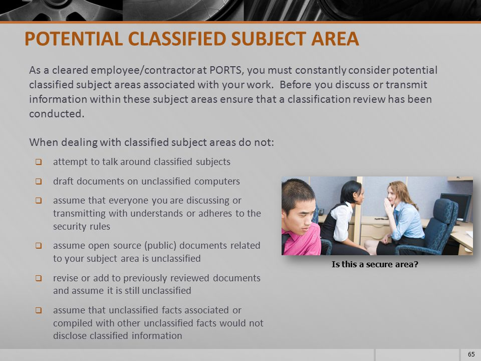 POTENTIAL CLASSIFIED SUBJECT AREA