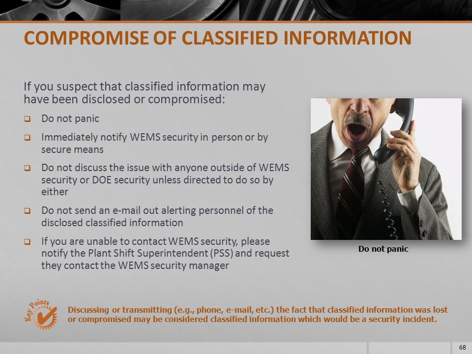 COMPROMISE OF CLASSIFIED INFORMATION