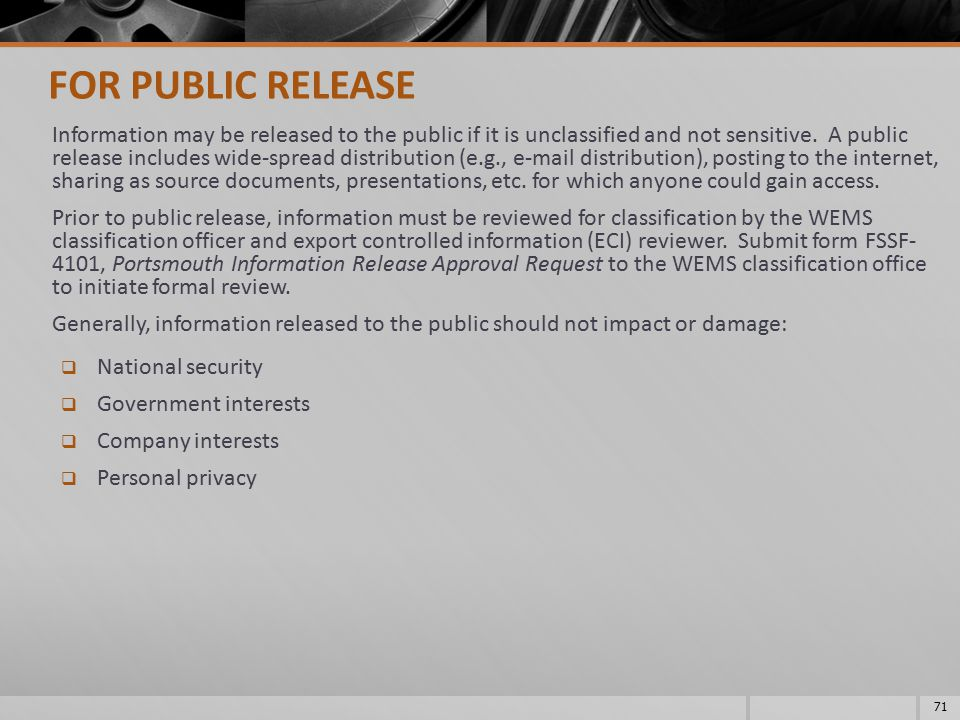 FOR PUBLIC RELEASE