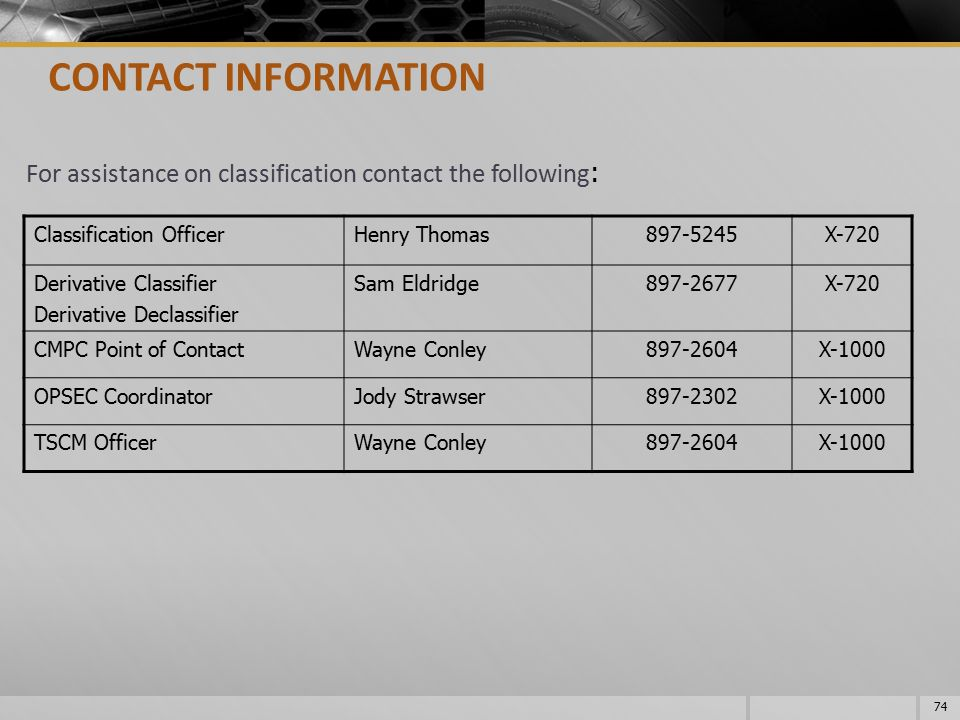 CONTACT INFORMATION For assistance on classification contact the following: Classification Officer.