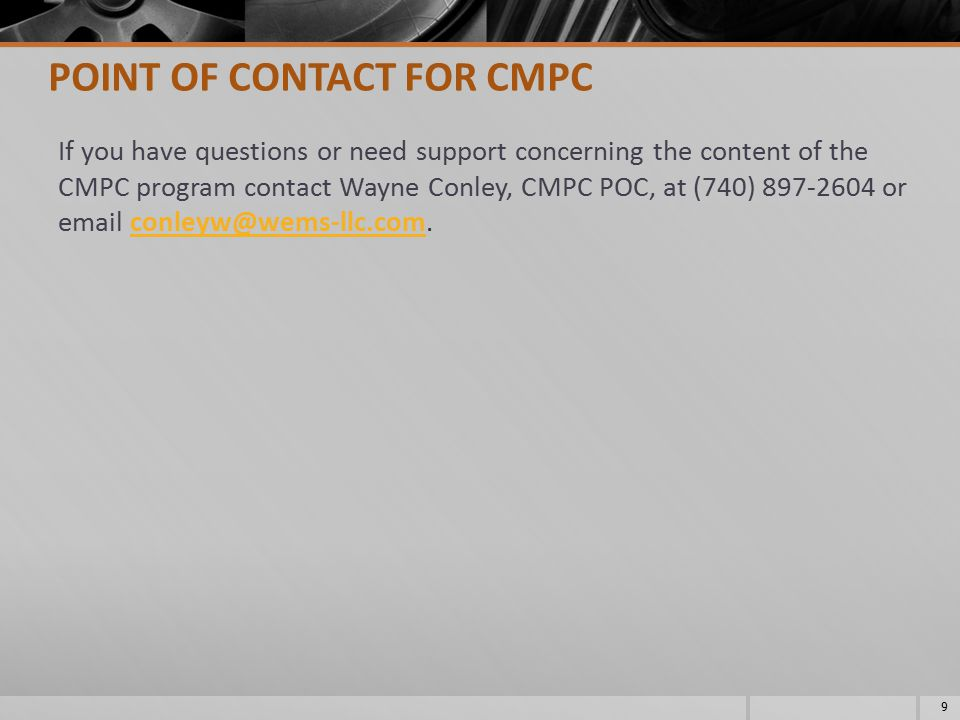 POINT OF CONTACT FOR CMPC