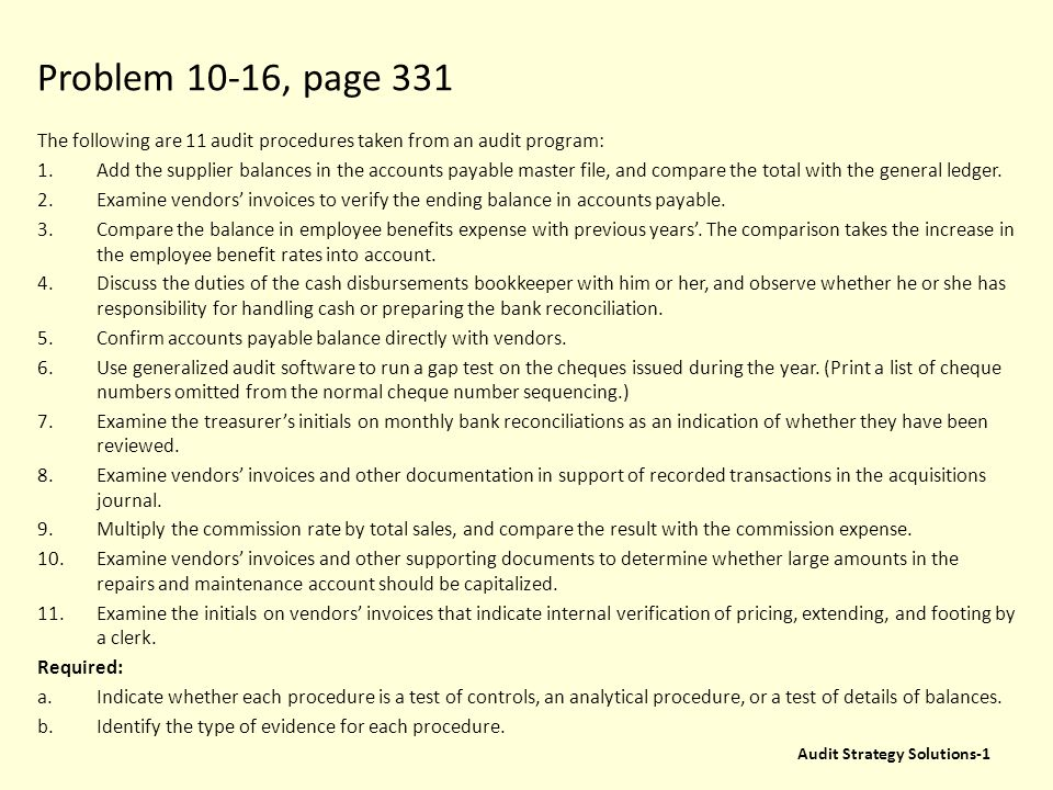 Problem 10-16, page 331 The following are 11 audit procedures taken from an audit program: