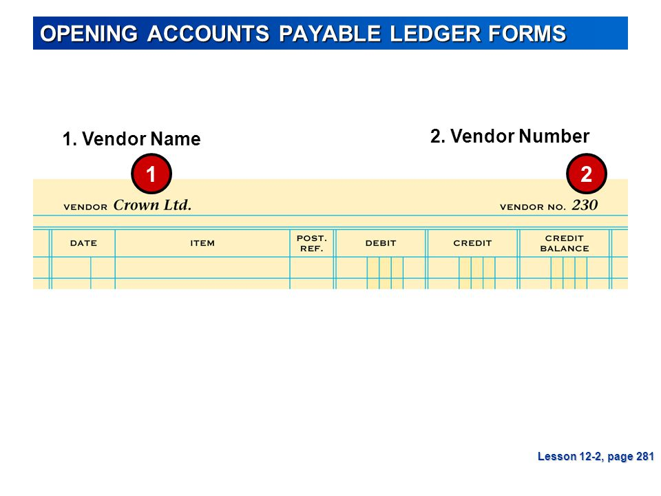 OPENING ACCOUNTS PAYABLE LEDGER FORMS