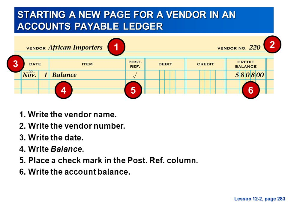 STARTING A NEW PAGE FOR A VENDOR IN AN ACCOUNTS PAYABLE LEDGER