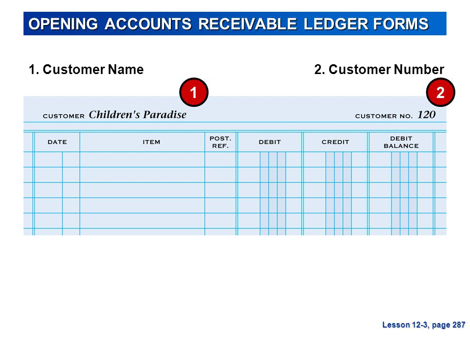 OPENING ACCOUNTS RECEIVABLE LEDGER FORMS