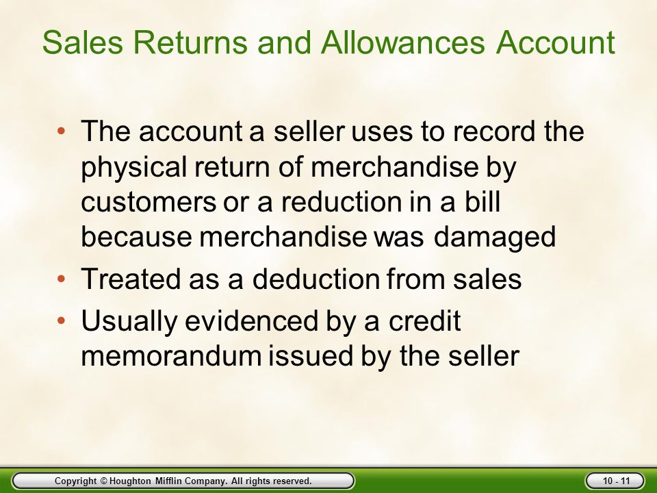 Sales Returns and Allowances Account