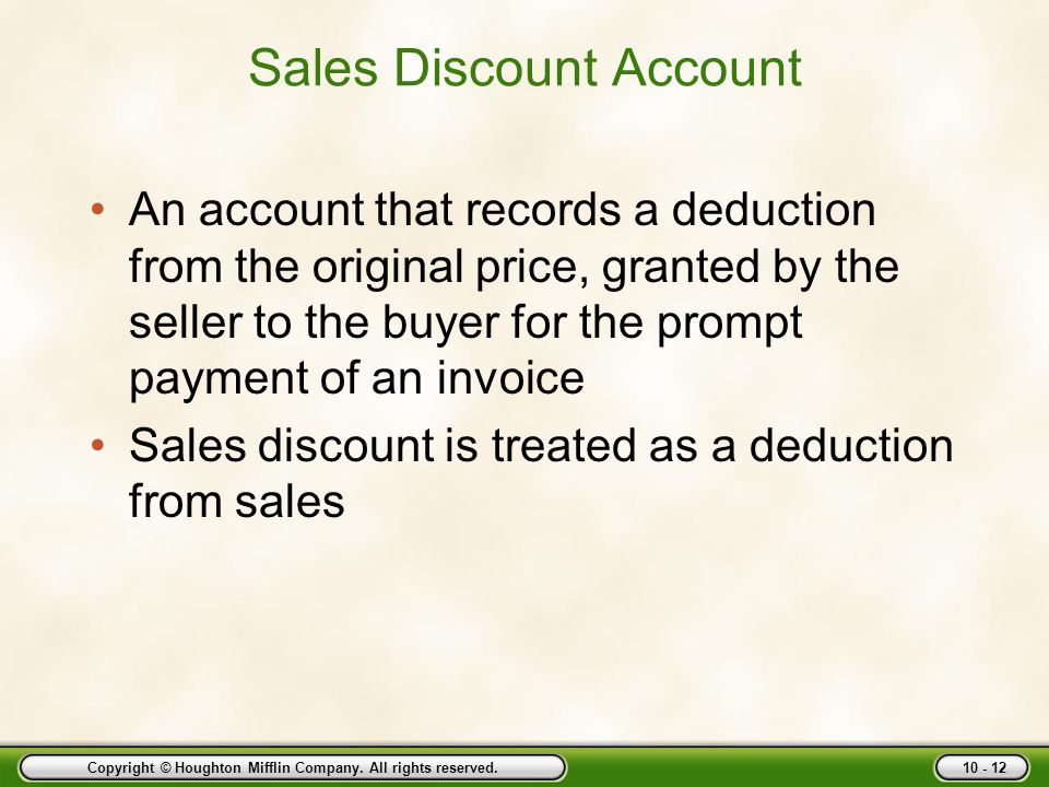 Sales Discount Account