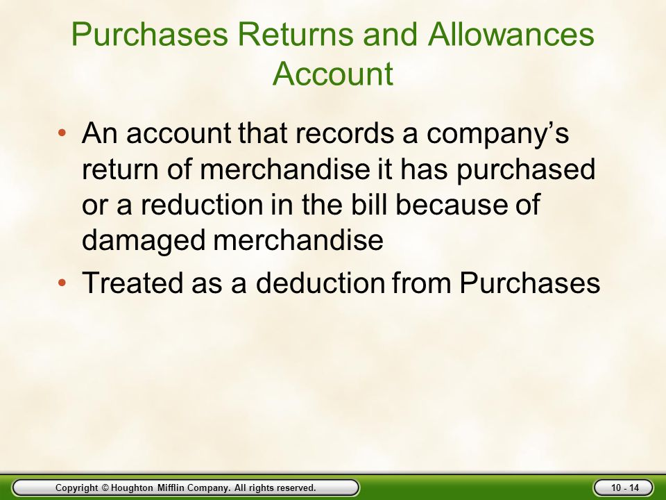 Purchases Returns and Allowances Account