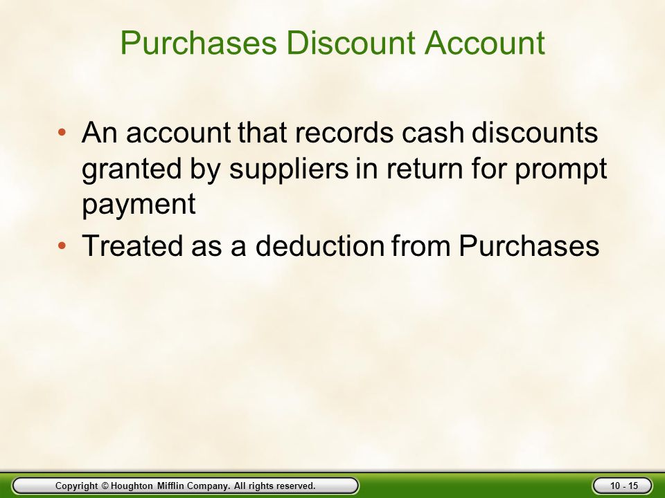 Purchases Discount Account