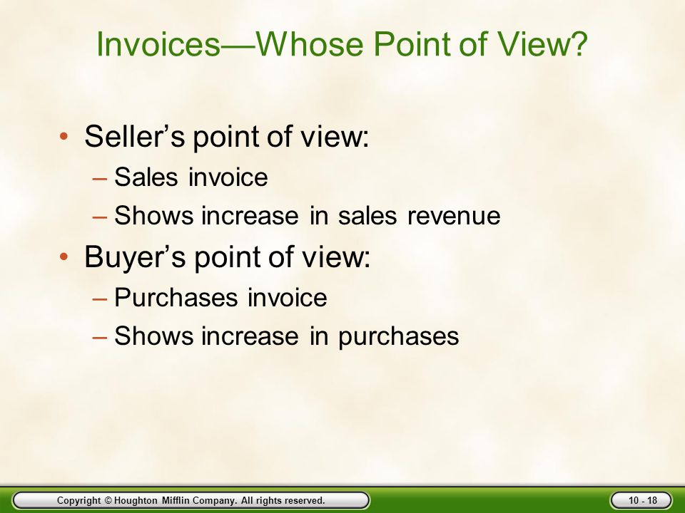 Invoices—Whose Point of View