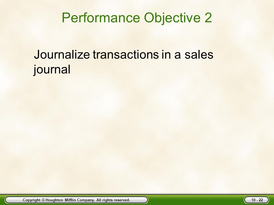Performance Objective 2