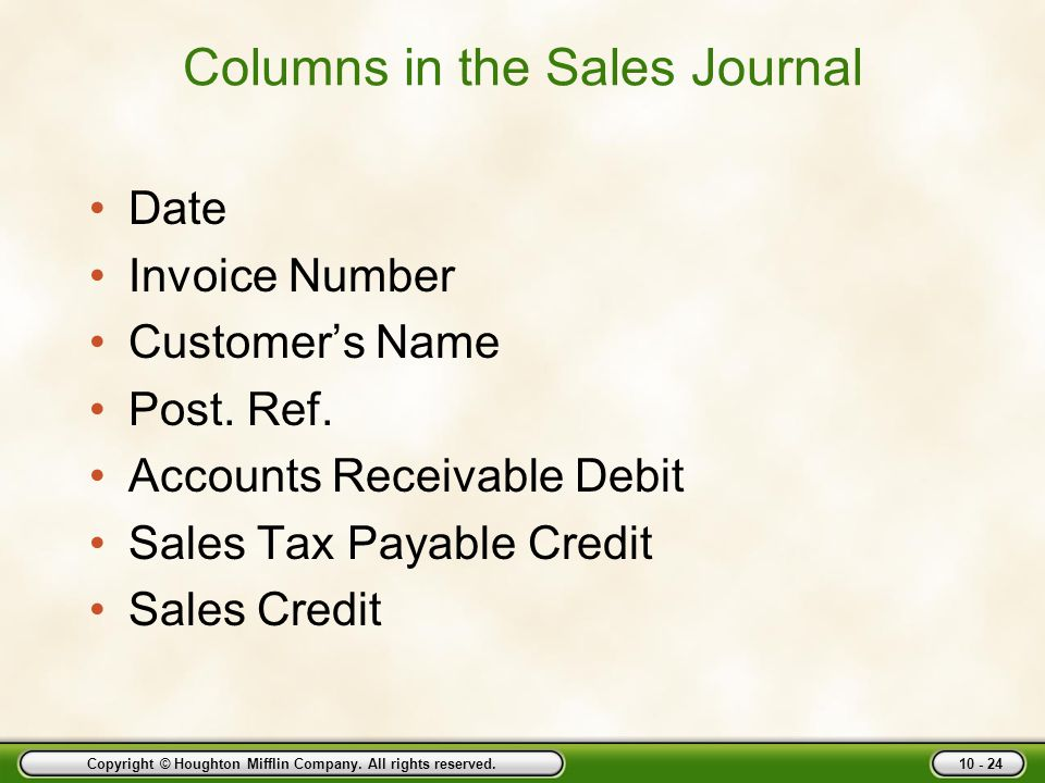 Columns in the Sales Journal