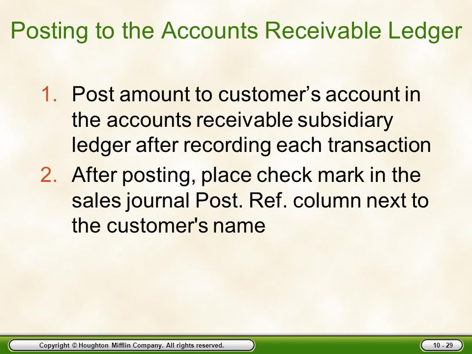 Posting to the Accounts Receivable Ledger
