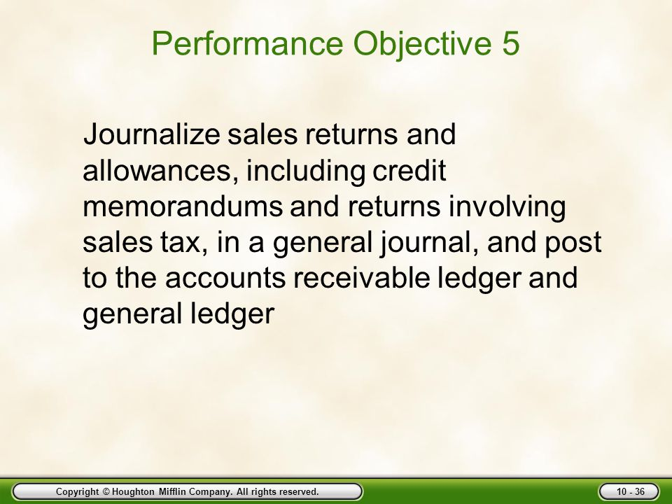 Performance Objective 5