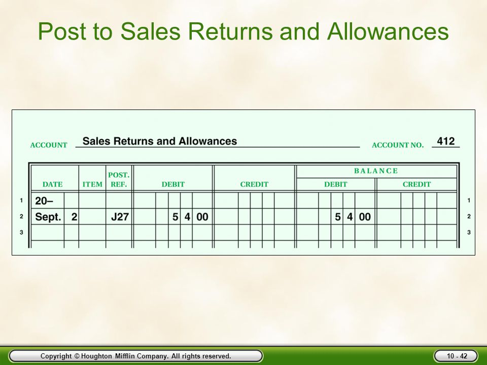 Post to Sales Returns and Allowances