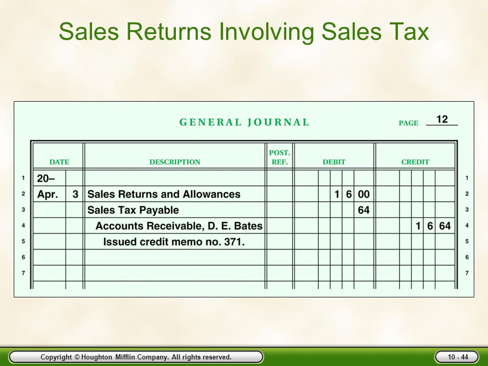 Sales Returns Involving Sales Tax