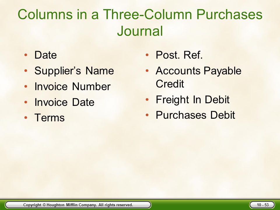 Columns in a Three-Column Purchases Journal