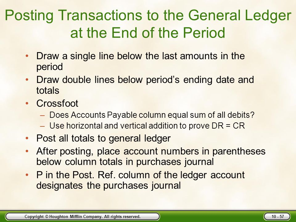 Posting Transactions to the General Ledger at the End of the Period