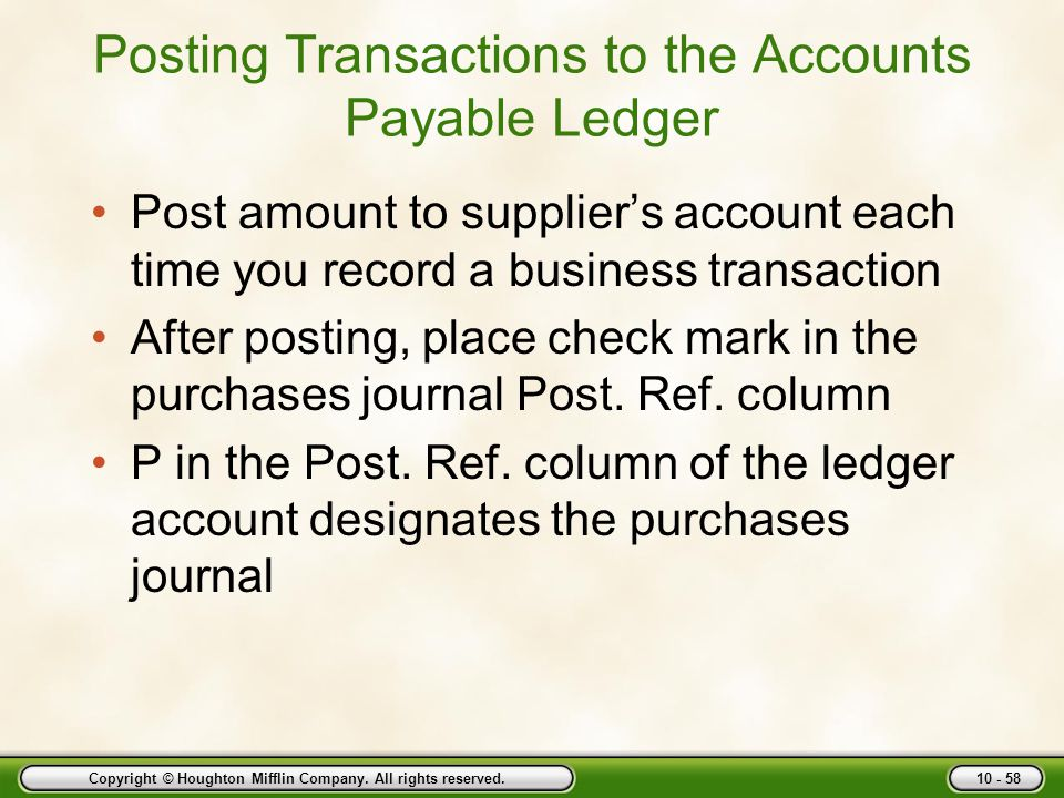 Posting Transactions to the Accounts Payable Ledger