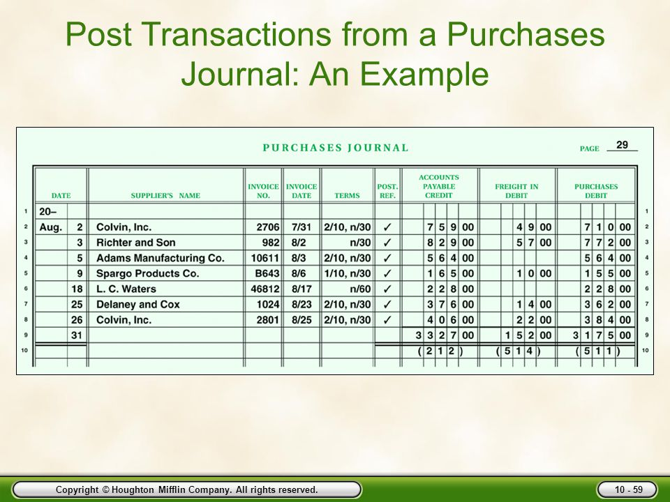 Post Transactions from a Purchases Journal: An Example