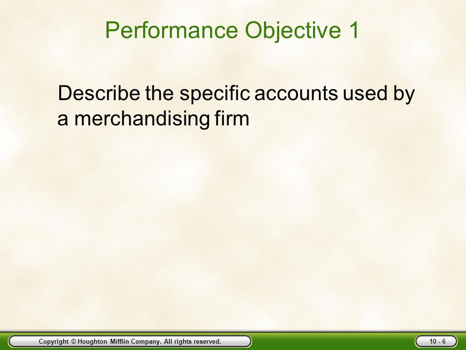 Performance Objective 1