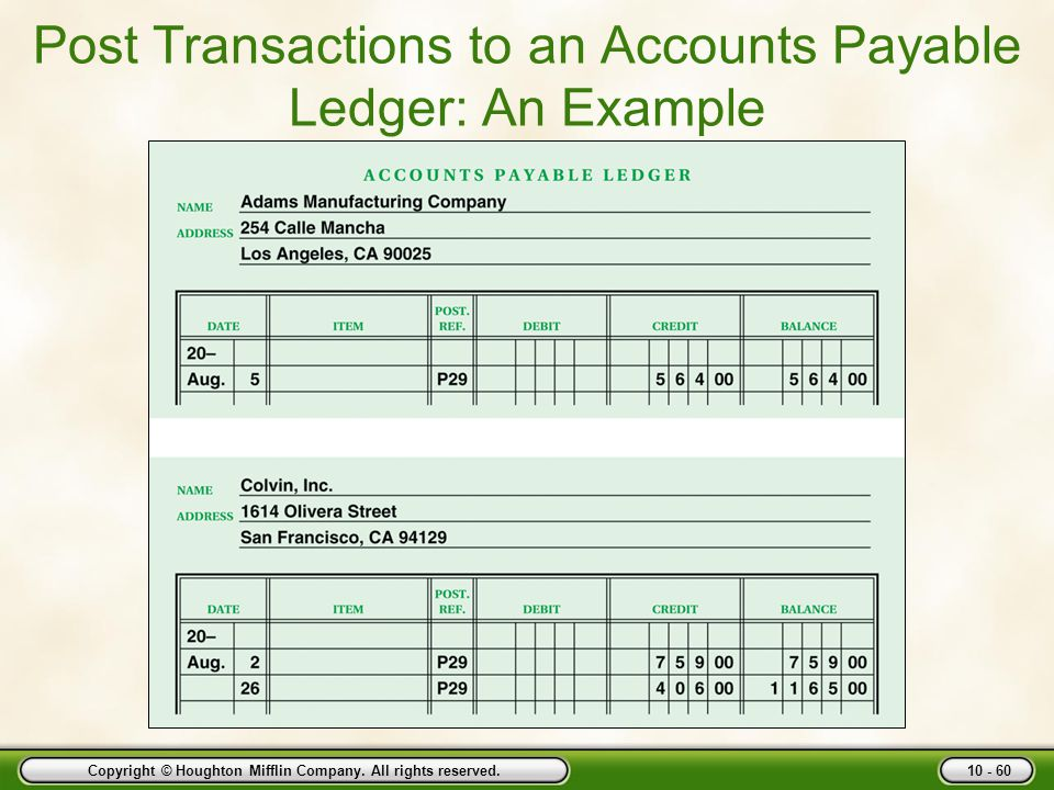 Post Transactions to an Accounts Payable Ledger: An Example