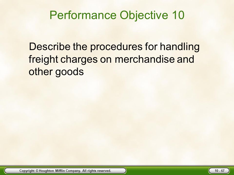 Performance Objective 10