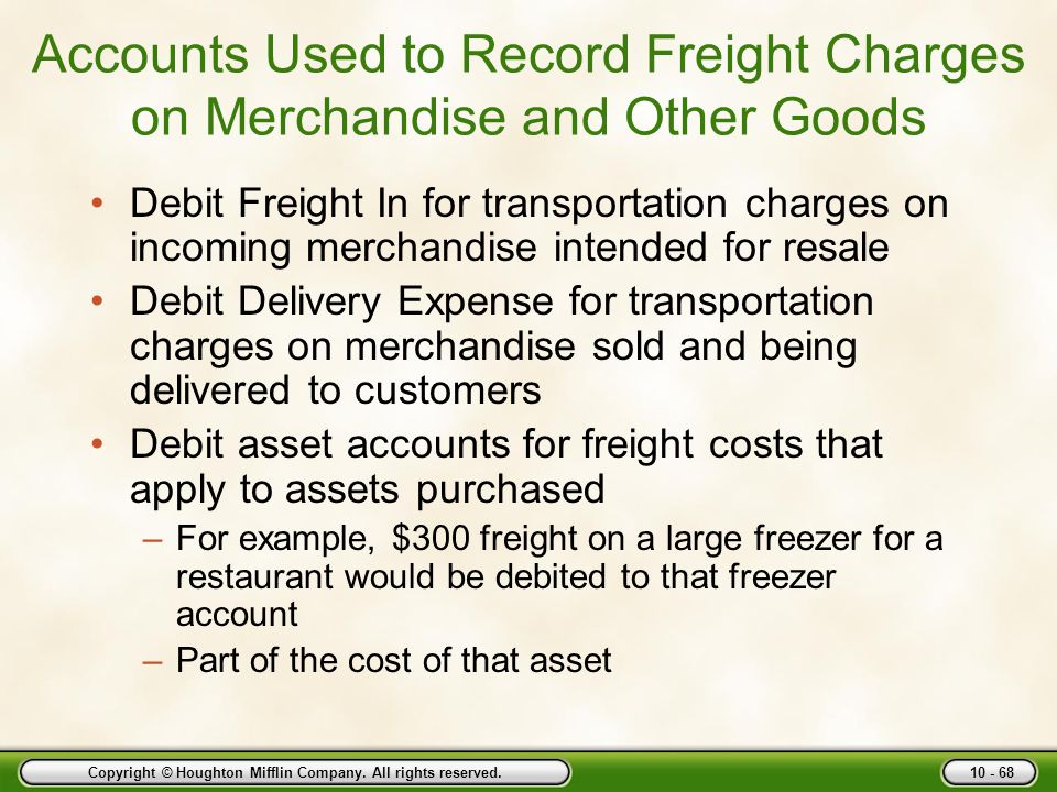 Accounts Used to Record Freight Charges on Merchandise and Other Goods