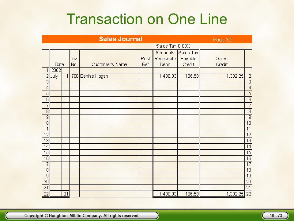 Transaction on One Line