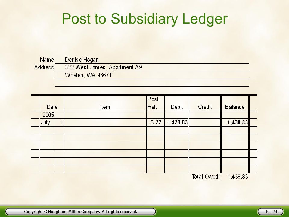 Post to Subsidiary Ledger
