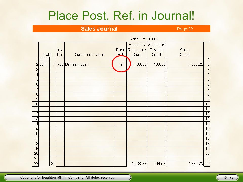 Place Post. Ref. in Journal!