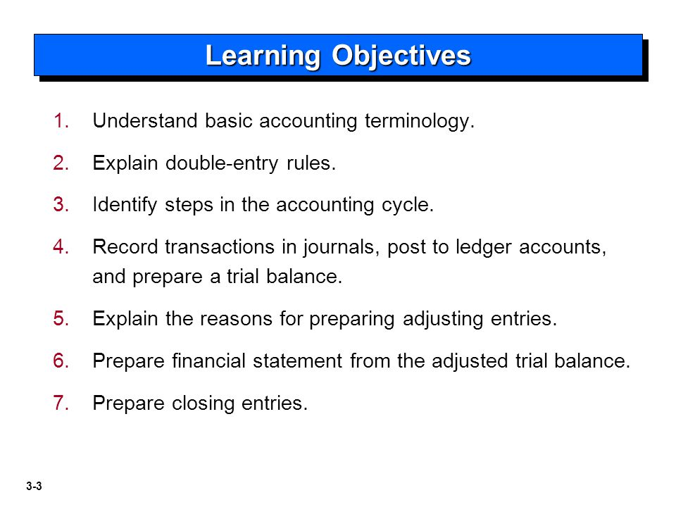 Learning Objectives Understand basic accounting terminology.