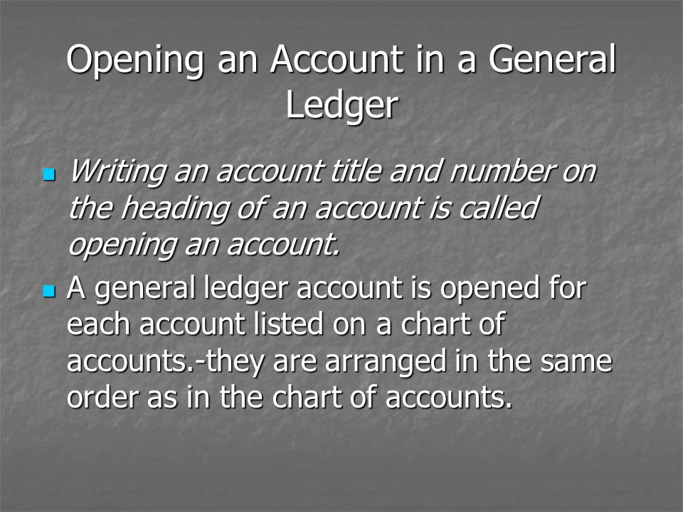 Opening an Account in a General Ledger