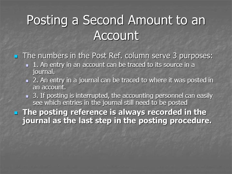 Posting a Second Amount to an Account