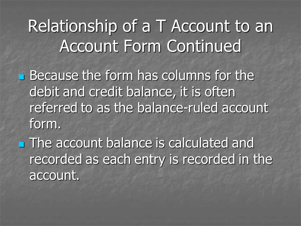 Relationship of a T Account to an Account Form Continued