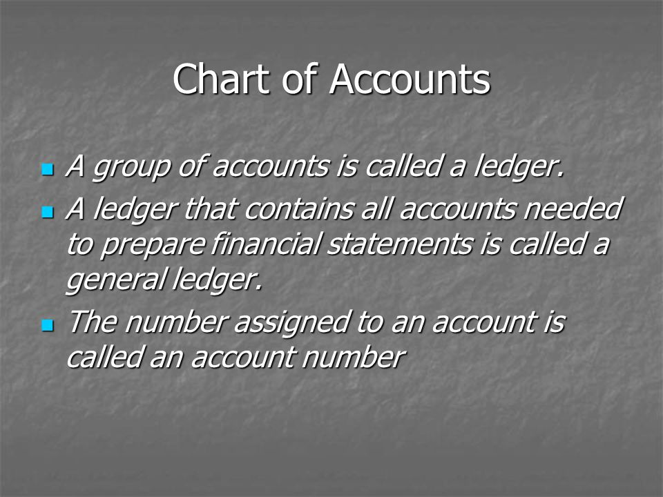 Chart of Accounts A group of accounts is called a ledger.