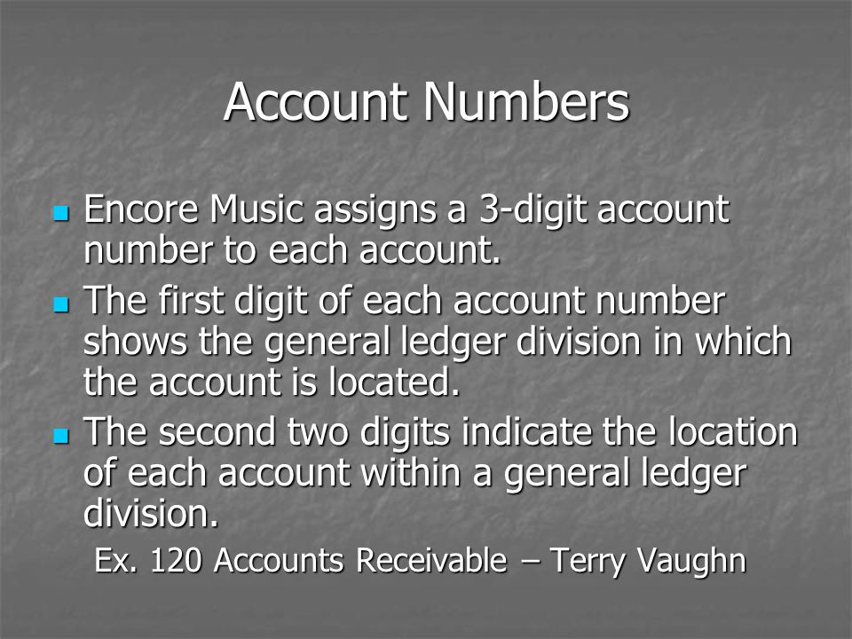 Account Numbers Encore Music assigns a 3-digit account number to each account.