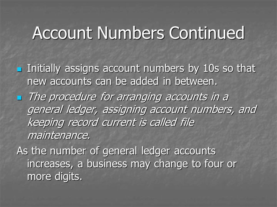Account Numbers Continued