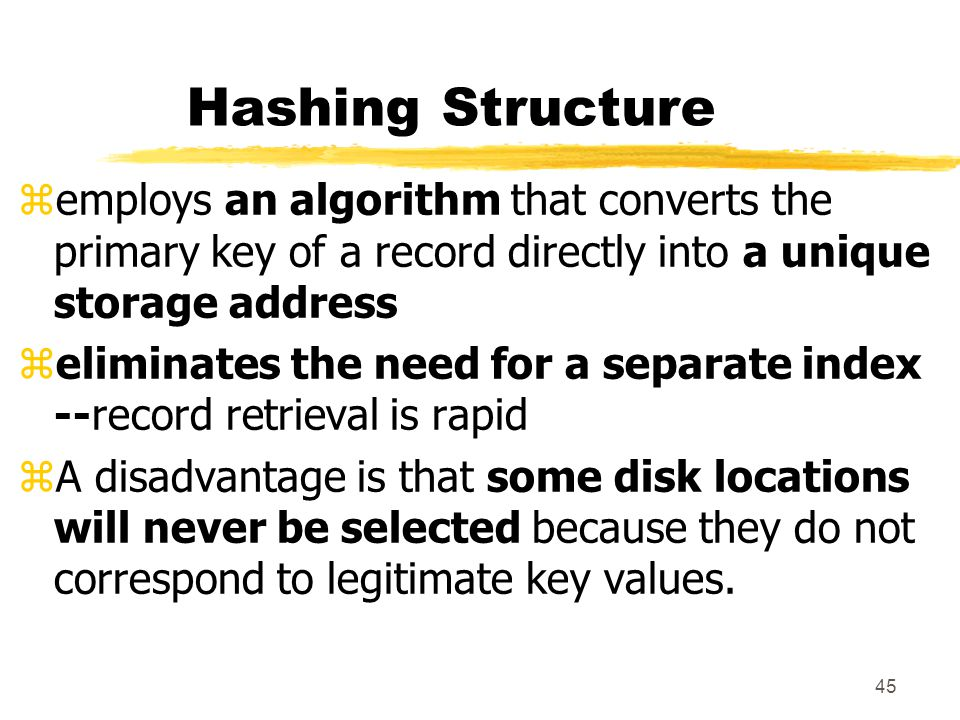 Hashing Structure employs an algorithm that converts the primary key of a record directly into a unique storage address.
