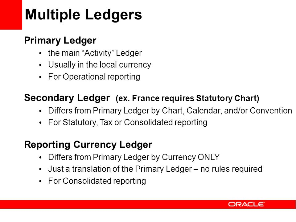 Multiple Ledgers Primary Ledger